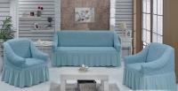 Натяжные чехлы на мягкую мебель диван и 2 кресла дымка
