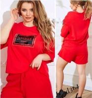 Костюм Size Plus Angels футболка и шорты красный D31