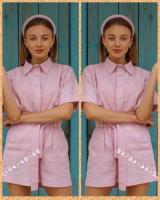 Костюм рубашка и шорты полулен розовый ED111