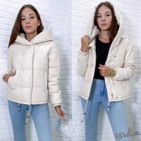 Куртка экокожа с капюшоном 283 кремовая DIM_Новая цена