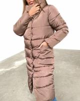Болоневое пальто с крупными карманами каппучино ZI