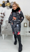 Болоневое пальто с меховым воротом черное газета KSU