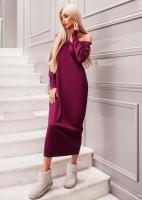 Платье креп длинное бордо OP37
