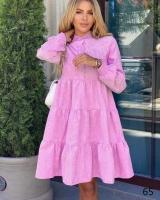 Платье вельвет колокольчик с пуговками розовое X118