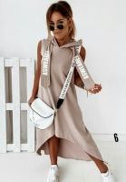 Платье барби с капюшоном удлиненное сзади каппучино UM29