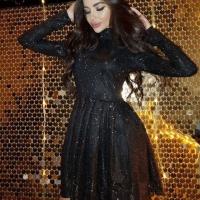 Платье стойка люрекс песок черное O114