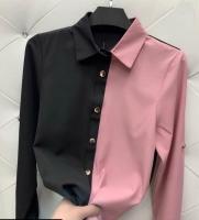 Рубашка домино черно-пудровая Z109