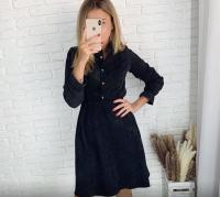 Платье вельвет пояс резинка черное KH110