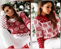 Вязаный свитер снежинки d31