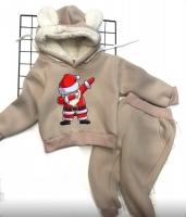 Детский утепленный костюм с ушками хайп дед мороз бежевый Xi
