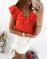 Блузка с короткими рукавами воланы кораллово-красная K135