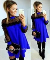Платье SIZE PLUS лайт рукава гипюр ярко-синее A133