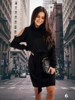 Платье ангора софт с открытыми плечами черное M37