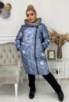 Болоневое пальто с меховым воротом голубое CHAOS KSU