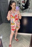 Домашний атласный костюм SPM светлый с принтом IN
