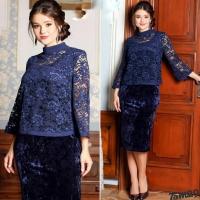 Костюм Size Plus платье и накидка темно-синий M29
