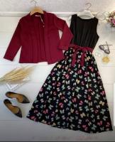 Двойка платье бабочки и Бордо пиджак Kh