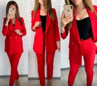 Костюм пиджак на подкладе барби и брюки красный ED111 107