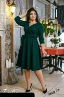 Платье Size Plus на запах зеленое M29