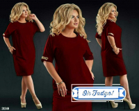 Платье SIZE PLUS вставка на плече и манжете bordo 21240 UM43 KS112