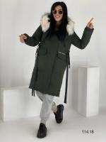 Удлиненная куртка с мехом хаки O114