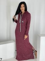 Длинное платье с капюшоном SIZE PLUS ангора бордо UM29