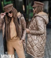Болоневая удлиненная куртка каппучино A133