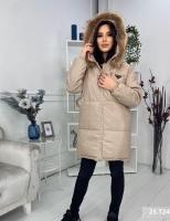 Удлиненная куртка под кожу с натуральным мехом бежевая T124