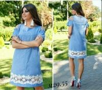 Платье Size Plus с открытыми плечами цветы голубое M29