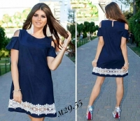 Платье Size Plus с открытыми плечами цветы тёмно-синее M29