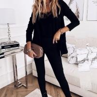 Костюм спандекс жакет и брюки черный A133