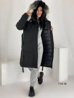 Удлиненная куртка с мехом черная O114