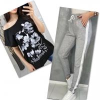 Костюм черная футболка SIZE Plus FLWERS с брюками серыми IN