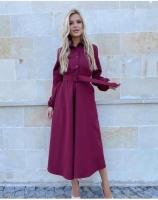 Платье барби с поясом бордо O114