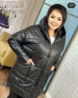 Куртка SIZE PLUS с карманами черная UM29