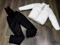 Костюм белая куртка и брюки на подтяжках D31