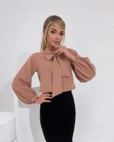 Блузка с галстучком пудра A133
