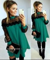 Платье SIZE PLUS лайт рукава гипюр зеленое A133