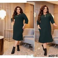 Платье Size Plus с карманами на молнии зеленое M29