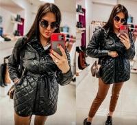 Куртка стеганая с поясом черная A116