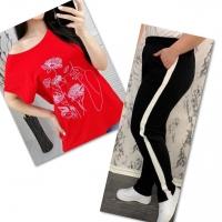 Костюм красная футболка SIZE Plus женский образ и цветы с брюками черными 01IN