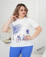 Костюм Size Plus с принтом велосипед синий M29