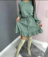 Платье софт с поясом низ волан в горох фисташка A116