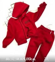 Детский утепленный костюм на молнии красный Xi