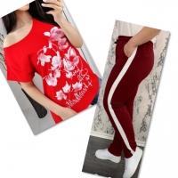 Костюм красная футболка SIZE Plus FLWERS с брюками бордо IN