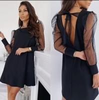 Платье лайт и сетка в горох черное K115