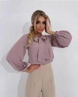 Блузка с галстучком сирень A133