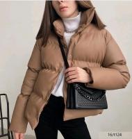 Куртка под кожу каппучино T124