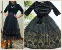Платье верх черный велюр низ фатин с золотым узором RH