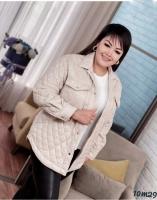 Стеганная куртка Size Plus с карманами пудра M29